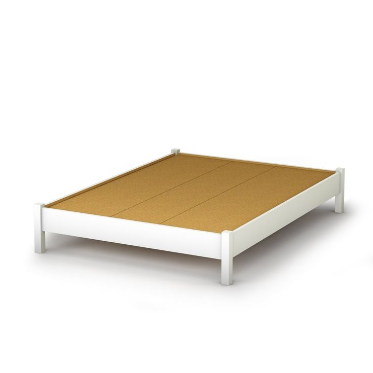 full size simple platform bed in white finish modern design - Simple White Bed Frame
