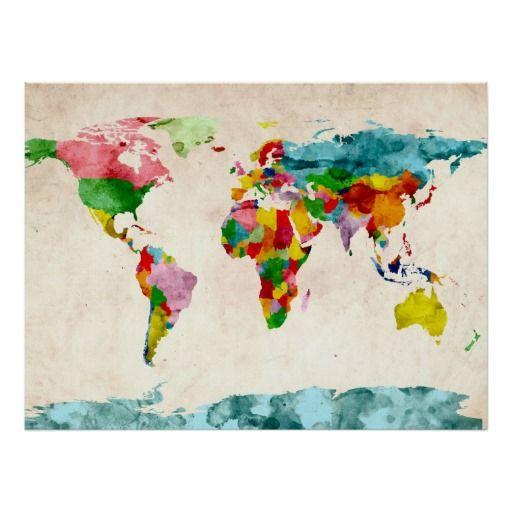 Aguarelas do mapa do mundo poster