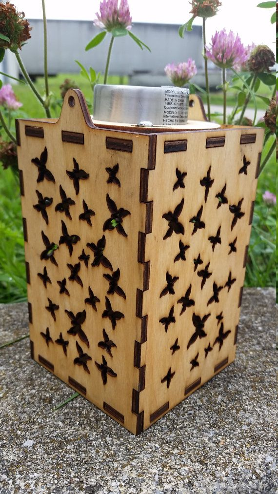 Butterfly Solar Powered Lantern $25.00 This lantern is laser cut and then hand assembled. It has a solar panel on the top that illuminates a small LED light inside. The shadow cast at night creates an interesting ambiance and lightens the space. The lantern is meant to be hung with a wire that is included with the purchase. #solar #powered #light #lamp #lantern #porch #outdoor #patio #balcony #hanging #laser #LED #garden #shadow #projection #cool