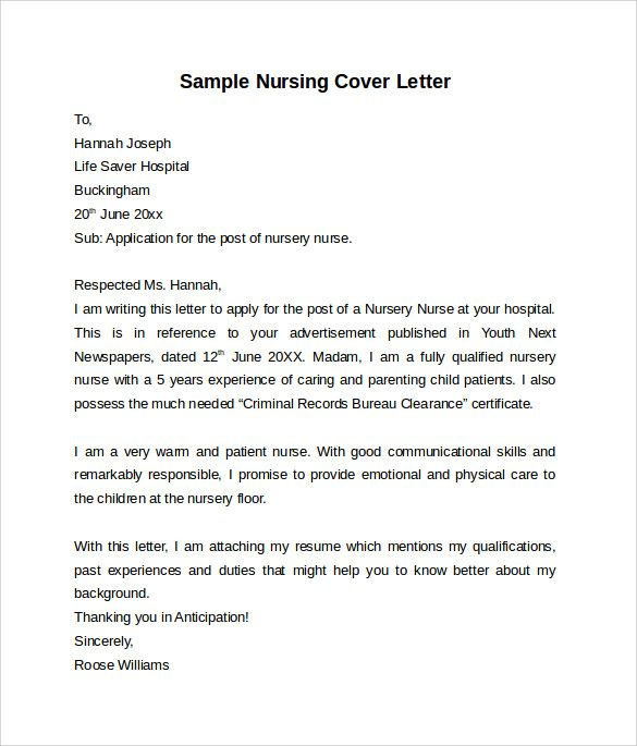 Nursing Cover Letters Nursing Cover Letter Template Free Samples