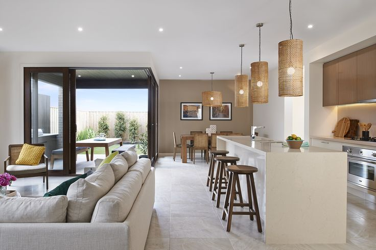 Timber sliding doors integrate the #StTropez28 outdoor living space with the main dining and living areas.