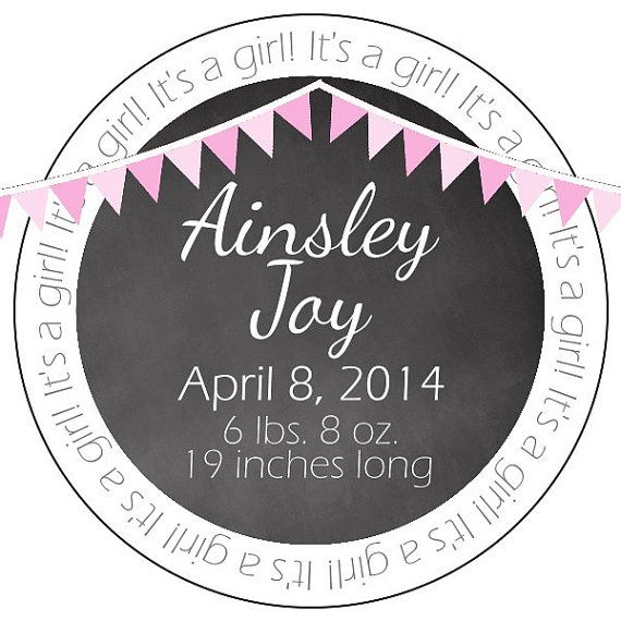 chalkboard baby announcement stickers by simplysweetpartyshop, $6.95
