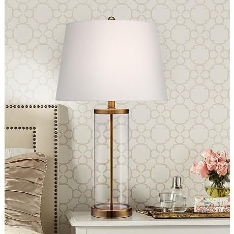 Glass And Gold Cylinder Fillable Table Lamp Places The