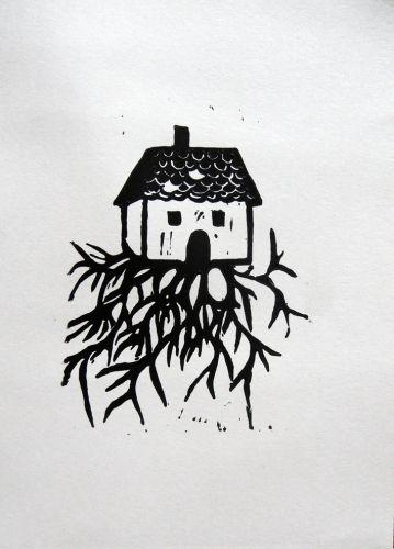 linogravure,maison,racines                                                                                                                                                                                 Plus