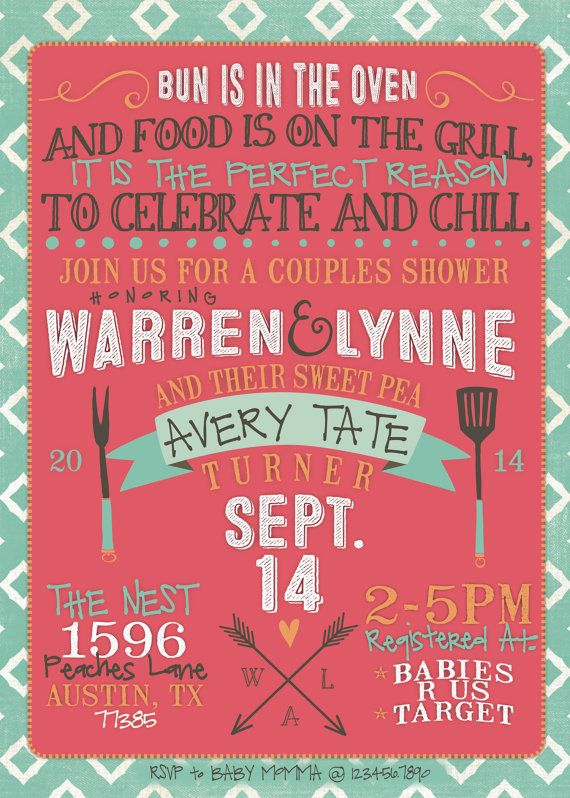 couples baby shower invitation bbq modern by
