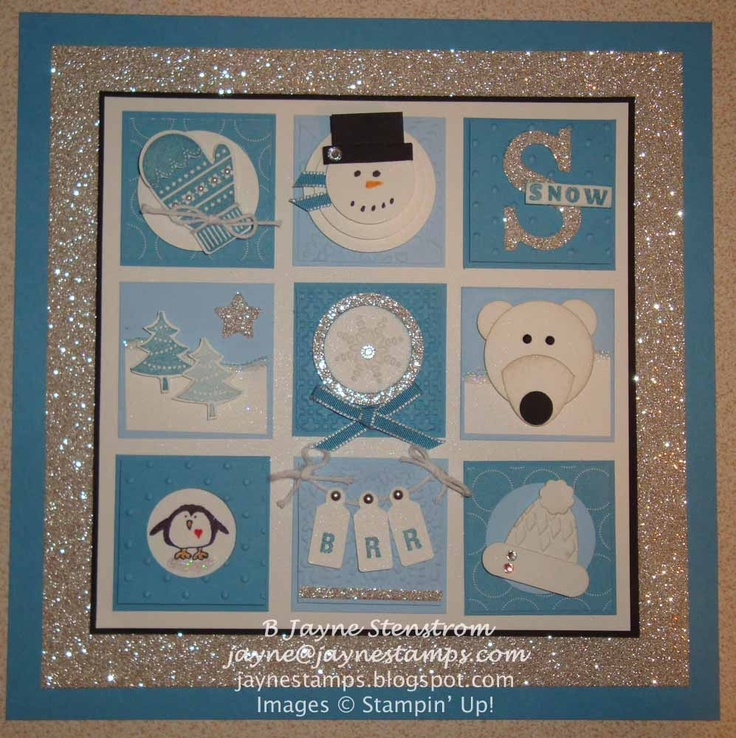 "~ ~ ~Jayne Stamps ~ ~ ~  Winter/Snow insert for my 8x8"" shadowbox frame"
