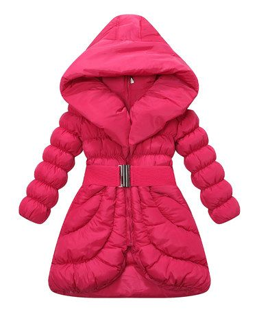 Love this Red Buckle Belt Hooded Puffer Coat - Girls by Richie House on #zulily! #zulilyfinds