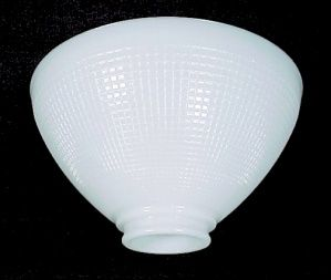 """IES White Milk Glass 10"""" Reflector Lamp Shade.  Lighting Replacement Lampshade with Waffle Pattern. For Antique, Vintage or Contemporary Table, Desk, Floor, or Pendant Lamp."""