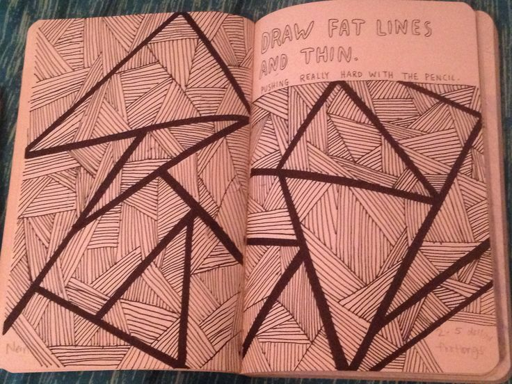 "Wreck this journal ""draw fat lines and thin"" page. Fine tip sharpies"