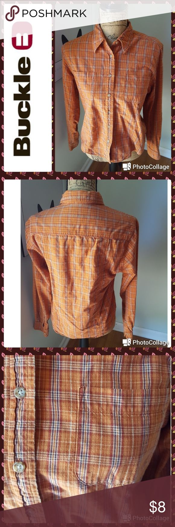 """Buckle shirt In great condition.  Buckle shirt. Button down front style.  Orange rust plaid with patch pockets. Long sleeves with button cuffs.  Bust 38"""". Buckle Tops Button Down Shirts"""