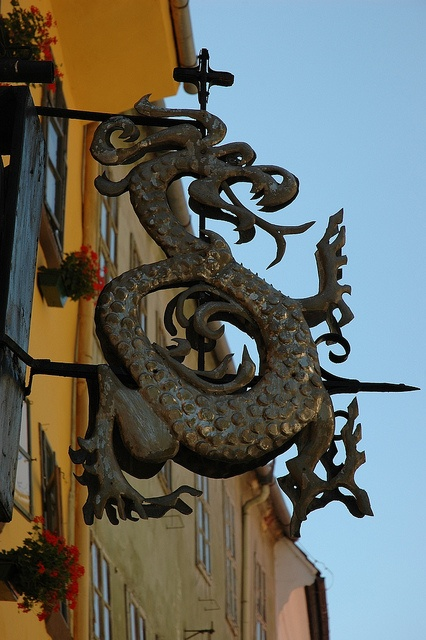 "Symbol of the ""Order of the Dragon"" at Birthplace of Vlad Dracula 
