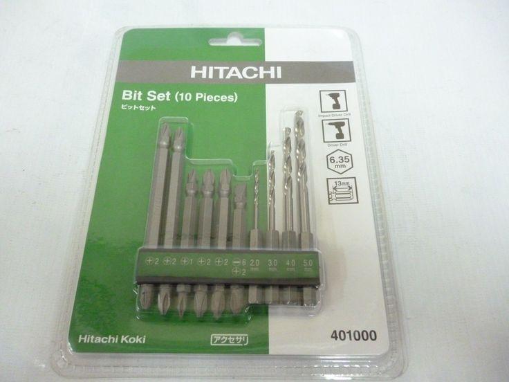 Hitachi 401000 Drill & Driver 10 Bit Set Hitachi Koki Hss4241 Glazing S2