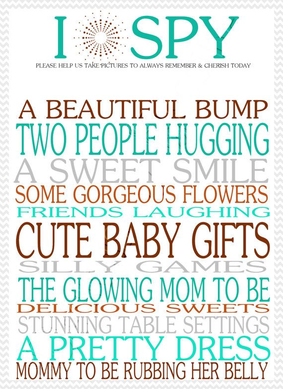 I Spy Cards For Baby Shower  Baby Shower, Baby Shower -4972