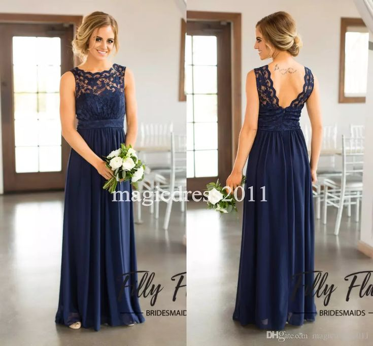2017 Navy Blue Lace Bridesmaid Dresses for Country Wedding A-Line Jewel Long Chiffon Bohemian Summer Beach Wedding Party Evening Dresses Country Wedding Cheap Bridesmaid Dresses Long Maid of Honor Dress Online with $84.0/Piece on Magicdress2011's Store | DHgate.com