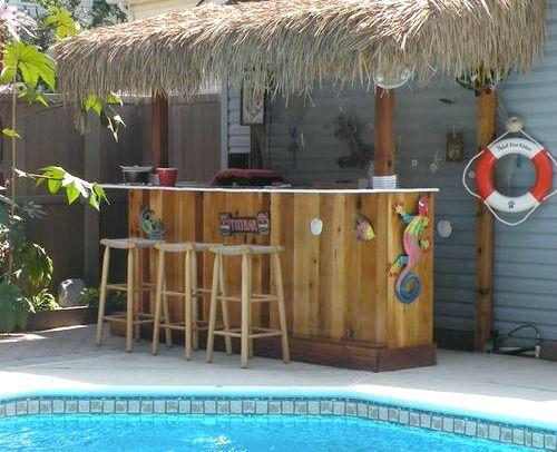 Tiki bar ideas for the backyard, patio and pool area:  http://www.completely-coastal.com/2016/04/beach-tiki-bar-backyard.html