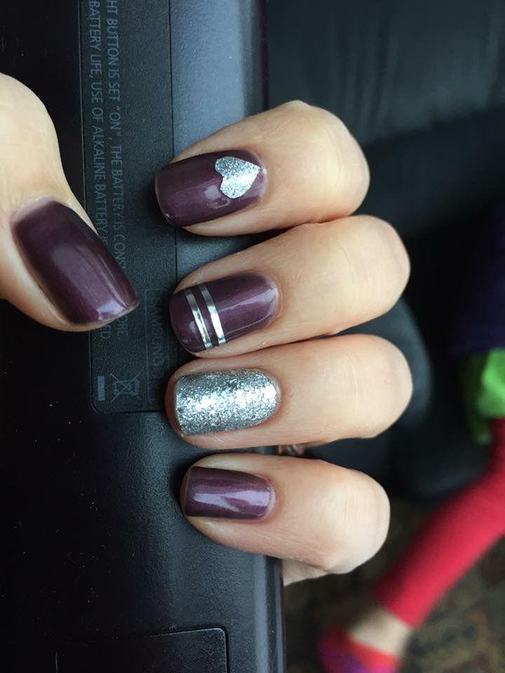 Jamberry. Creative. Silver stripe. Aubergine. Diamond dust. Heart.