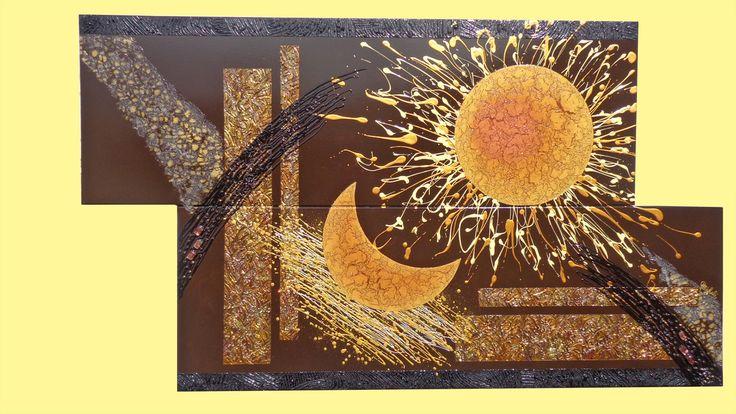 ' Sole e Luna ' - Materico acrilico su tela con applicazione di tecniche decorative a rilievo e screpolature (su sole e luna). Malte a effetto sfere e perle di vetro per i dettagli da risaltare. - alt: 80,00cm x larg: 140,00cm - Note: Il quadro per camera da letto moderno, è un incontro tra il sole e la luna, in uno spazio astratto, dai colori terra e oro. Simpatica concezione degli astri da vivere insieme in camera come in salotto!!