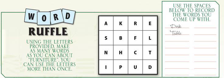 Furniture Spring Contest Word Ruffle: A K R E S B F L N H C T I P U D