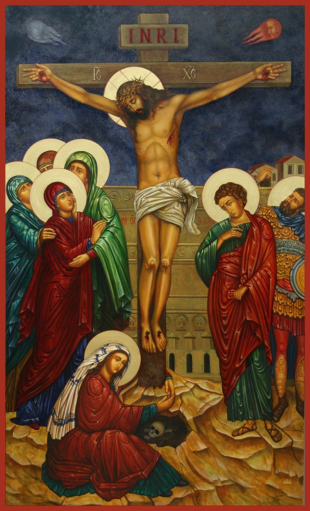 [Crucifixion icon, by Ann Chapin.]