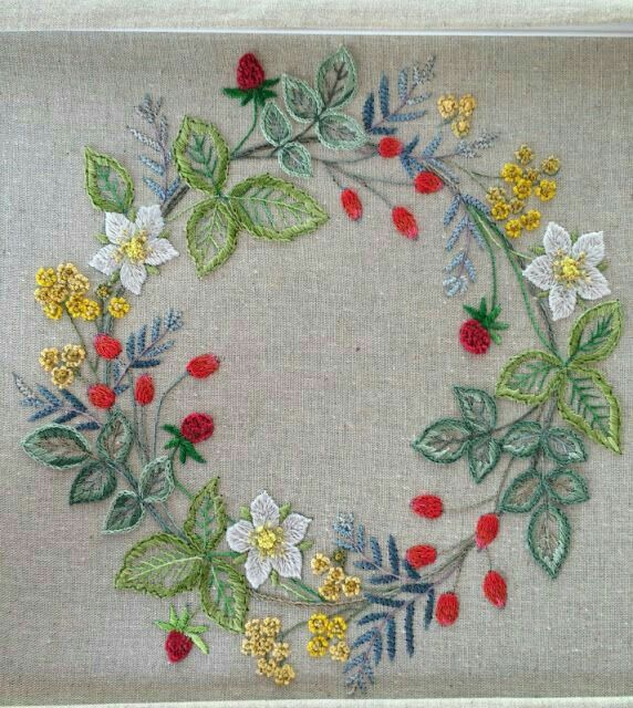 Embroidered floral wreath