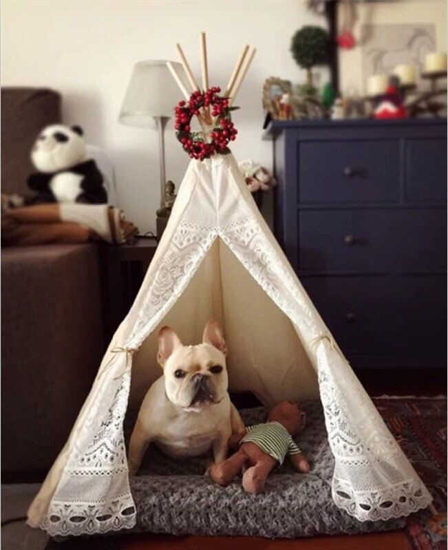 White lace canvas pet bed teepee. Teepee pet beds by Beadoobead