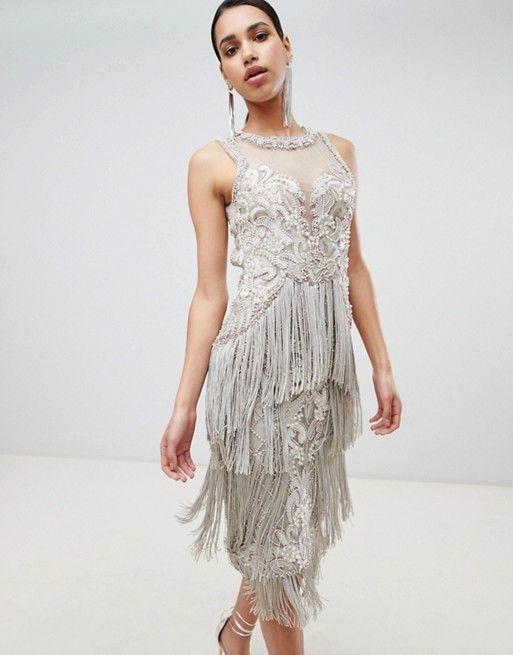 58b81f4b030 A Star Is Born Embellished Midi Dress with Tassel Detail in 2019 ...