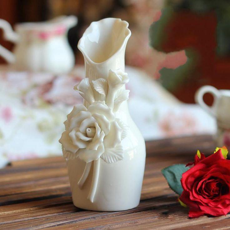 красивые розы цветок белой керамики вазы искусственный цветок ваза перо страуса ваза для свадебной вечеринки