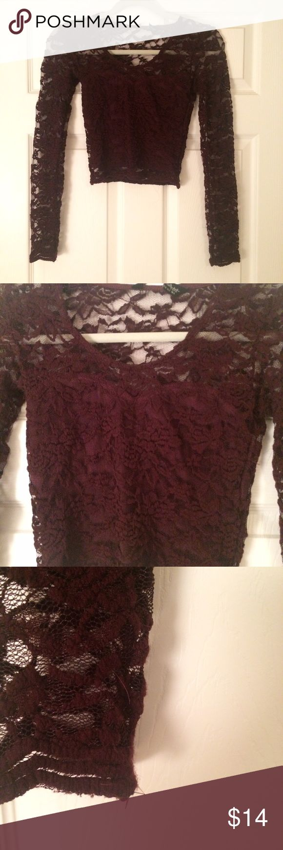 NEW 🔥Lace crop top +super sexy lace crop top +deep plum color +all over lace with front and back bodice lined + no holes in lace but the lace has so loose threads due to nature of fabric +pairs perfect with high waisted denim or skirt miss selfridge Tops Crop Tops
