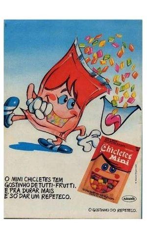 Minichicletes sabor tutti-fruti da Adams. Foi febre nos anos 80, mas deixou de ser fabricado em 1998