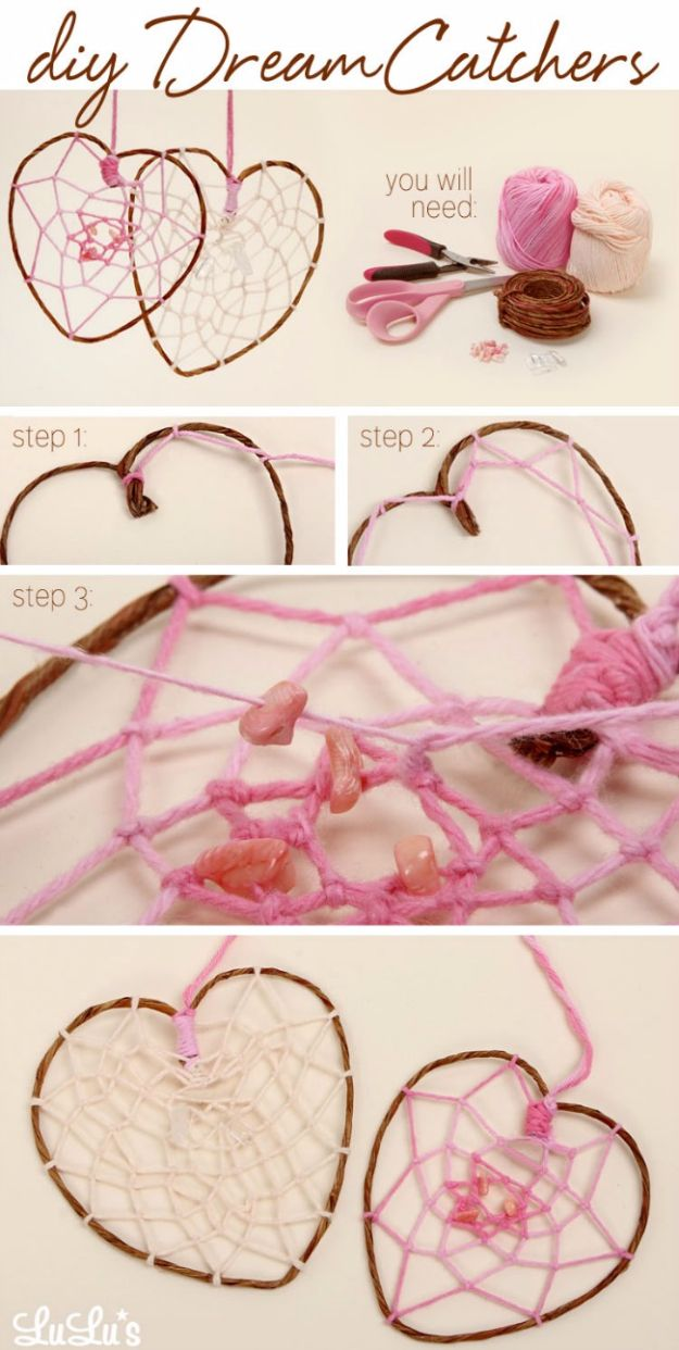 DIY Projects for Teenagers - DIY Heart Dreamcatcher - Cool Teen Crafts Ideas for Bedroom Decor, Gifts, Clothes and Fun Room Organization. Summer…