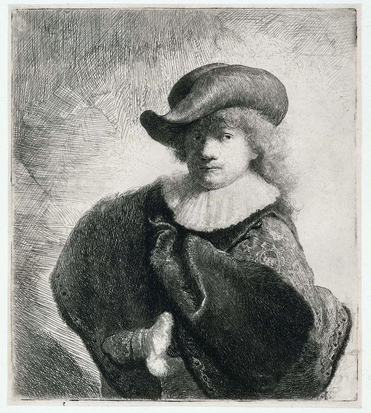 Zelfportret met hoed met slappe rand en geborduurde mantel, Rembrandt Harmensz. van Rijn, 1631