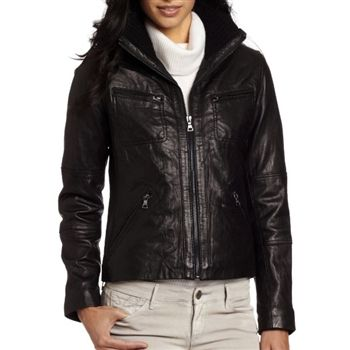 Tommy Hilfiger Womens Black Knit Collar Leather Jacket. SHOP IT NOW