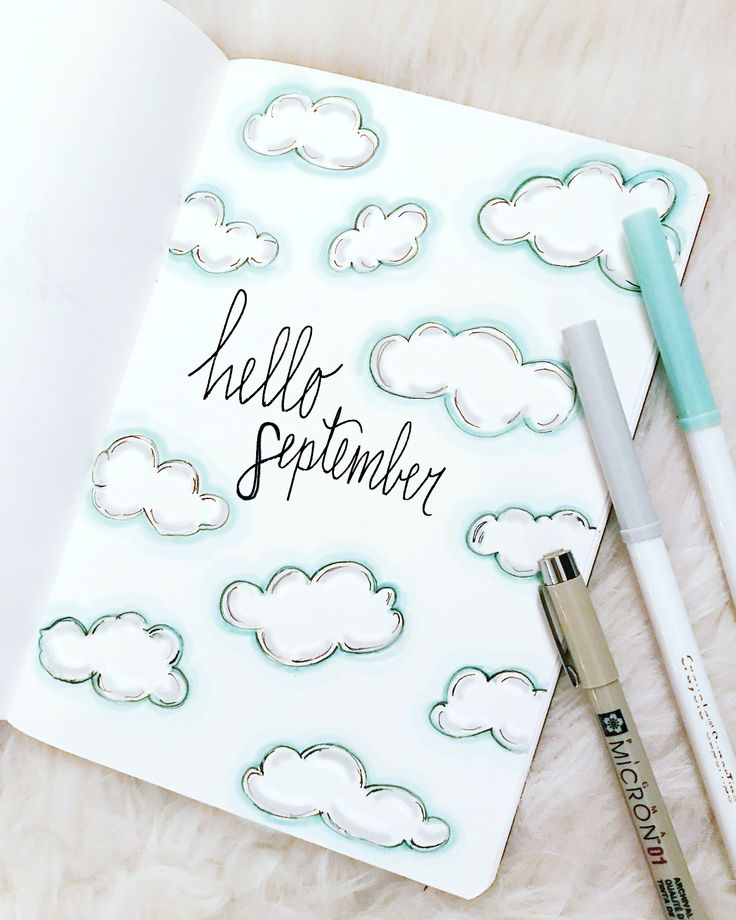 September cloud themed cover page was so much fun to create! Read more about the inspiration behind this design and the tools I used! #bujo #bulletjournal #planner #art #doodle #crayola #sketch #clouds #september