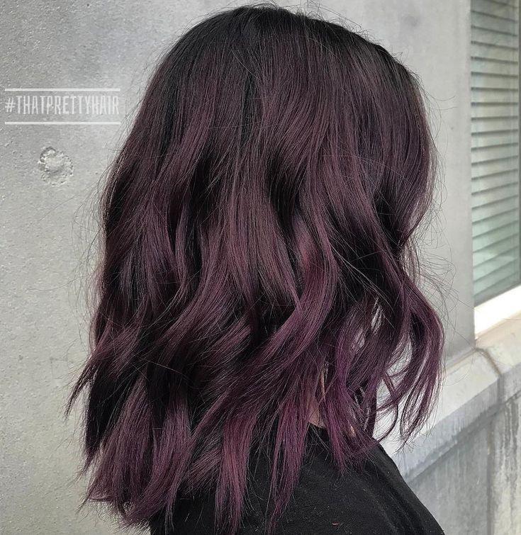 Medium Black Hair with Purple Tint