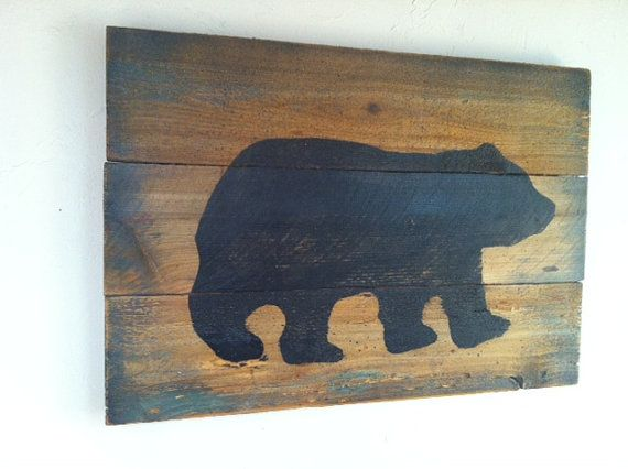 Black bear on wood large rustic hand painted weathered for Rustic bear home decor