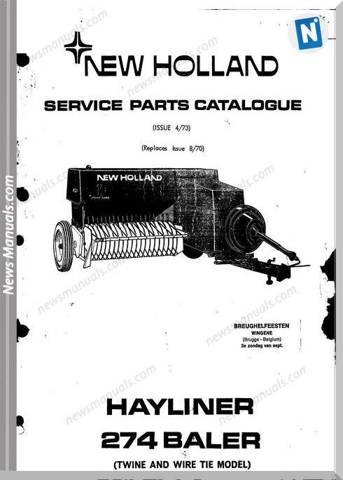 New Holland 274 Part Catalogue Parts catalog, New