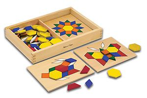 Pattern Blocks and Boards: Visual perception can be developed by placing pattern blocks on the corresponding board shape to create a design.