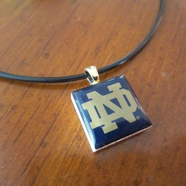 NOTRE DAME FIGHTING IRISH ND LOGO TILE CHARM PENDANT NECKLACE LifeTiles jewelry #NotreDame