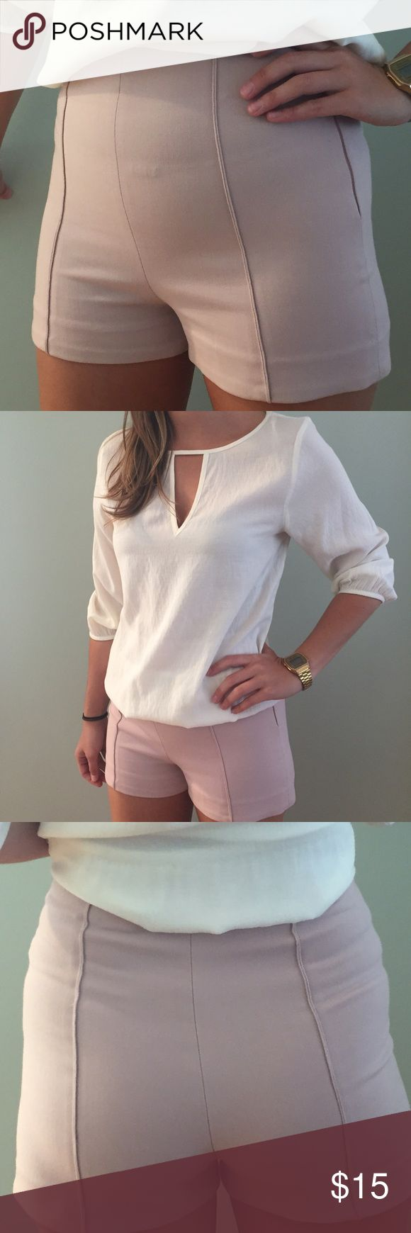 High Waisted pastel Pink Zara Shorts Slightly stretchy pale pink Zara Shorts with a side zipper. Zara Shorts