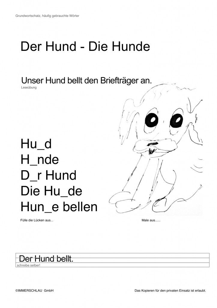 Arbeitsblatt zum Basiswortschatz Grundschule Hamburg