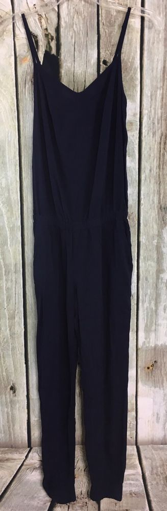Splendid S Darted Jumpsuit One Piece Navy Blue Elastic Waist/Cuffs 100% Rayon #Splendid #Jumpsuit