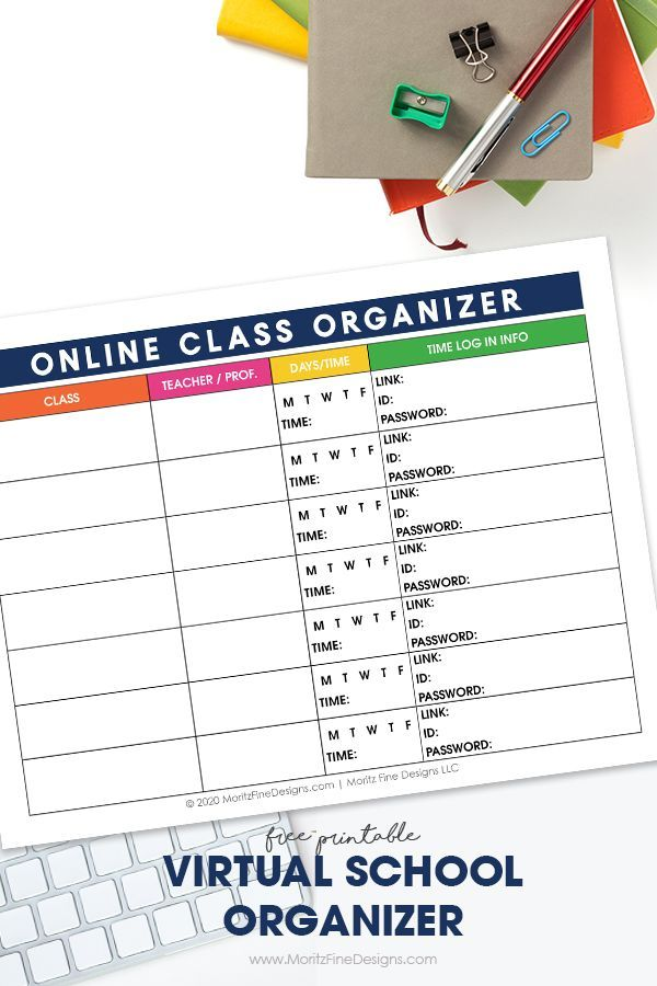Virtual School Class Planner Printable Online School Schedule School Schedule Printable Virtual School School Schedule