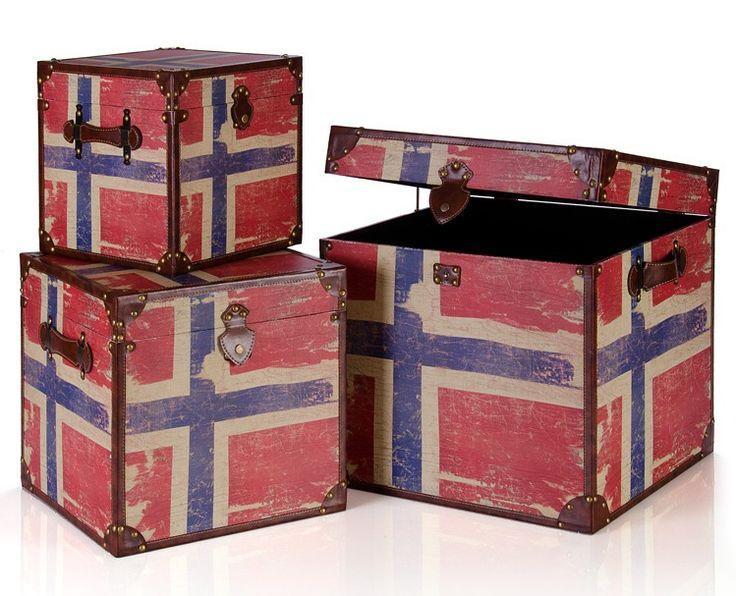 Baules Bandera Noruega Madera Amundsen | juego de 3