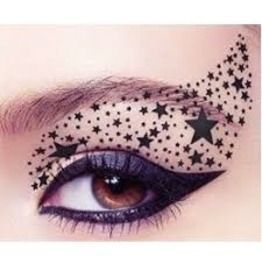 Star design eye makeup with winged liner  #eyes #eye #makeup #dramatic