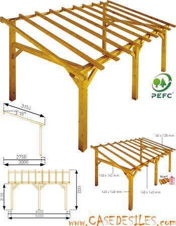 Structure de carport en bois 15mc Sherwood : achat pas cher