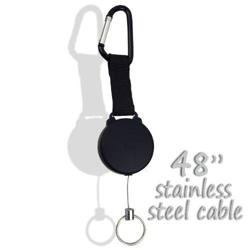 """RamPro Heavy-Duty Retractable Key Chain Reel 48"""" Stainless Cable - Great for ..."""