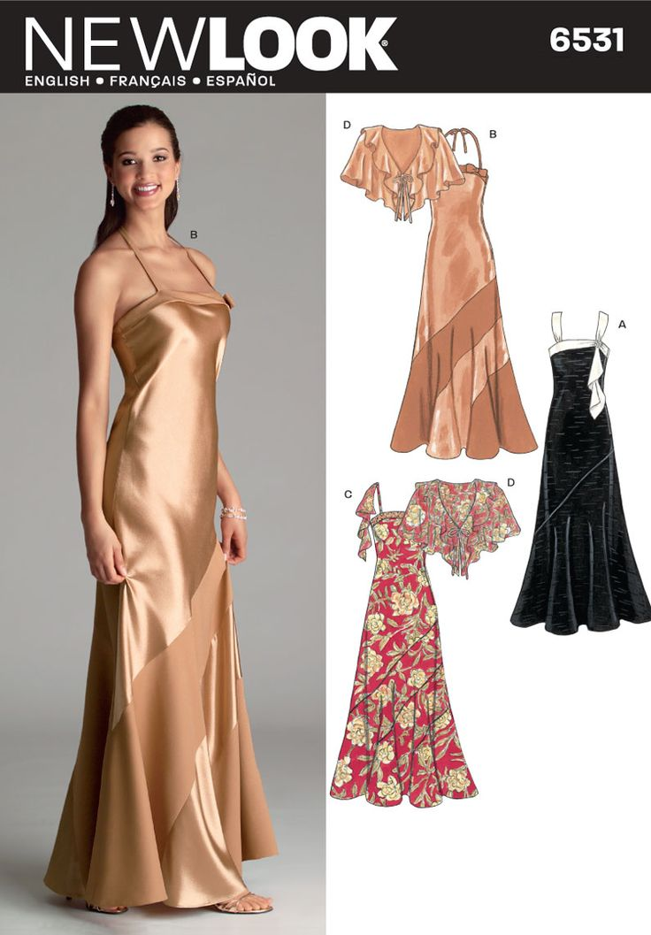 Superb New Look Special Occasion Gowns Evening Dress w Wrap Sizes to Sewing Pattern