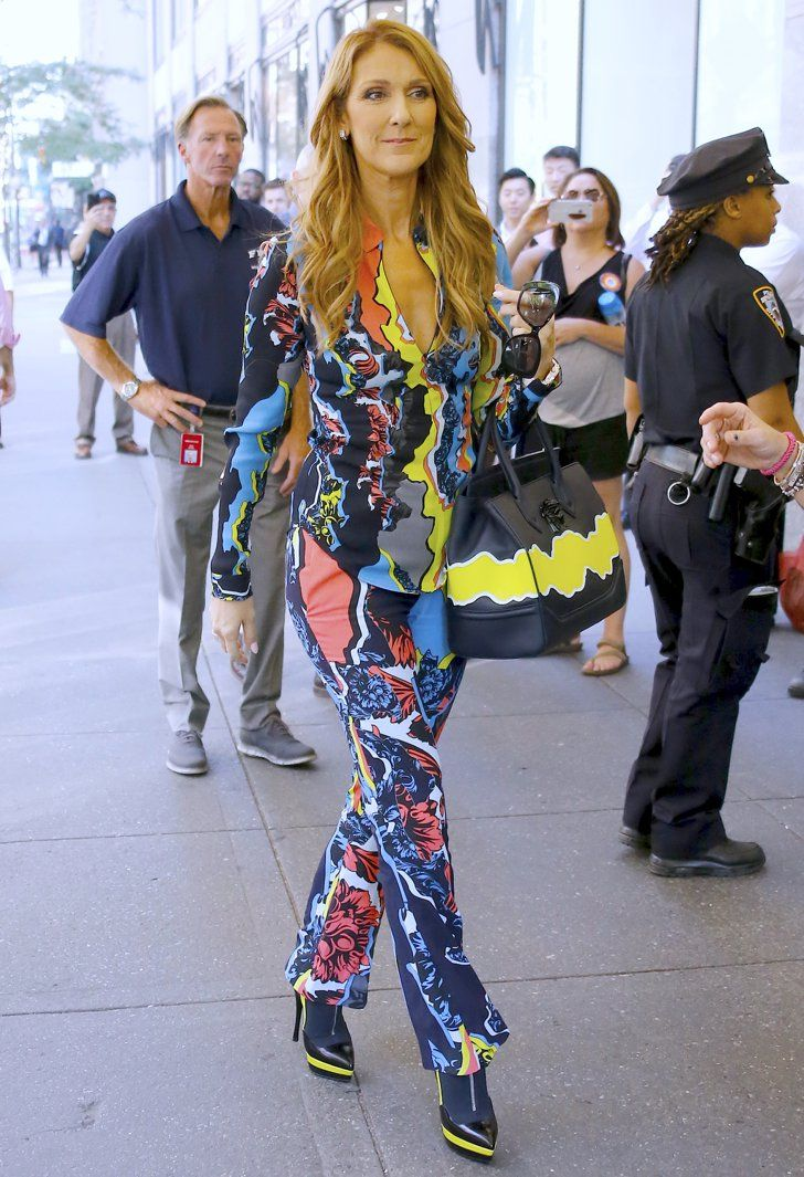Pin for Later: Celine Dion Is the Fearless Fashion Icon You Didn't Know You Needed This Swirling Versace Suit Made Us Weak at the Knees