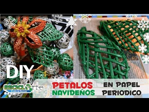 DIY ♻ PETALO TEJIDO EN PAPEL PERIODICO / DIY ♻ PETALO FABRIC ON PERIODIC...