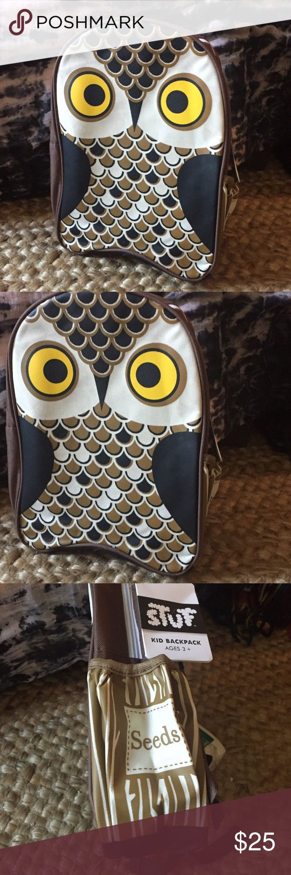 Kids Owl Backpack - New With Tags Great for school and travel.  Made of a durable, woven polyester with fun owl design.  A water bottle pocket, padded and adjustable straps and a nameplate inside. Accessories Bags